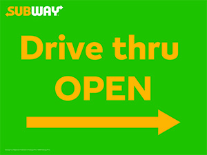 Drive-Thru Open Right Arrow Picket Sign
