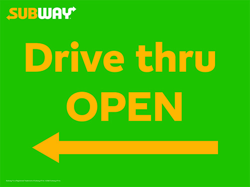 Drive-Thru Open Left Arrow Picket Sign